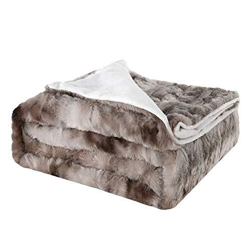 QMZDXH Grau Polar Fleece Tagesdecke Fellimitat Wendedecke Sofadecke TV Decke Hochwertige Kuscheldecke-Felldecke Für Wohn- Und Schlafräume