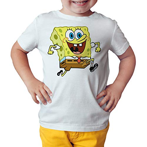 Camiseta Niño - Unisex Dibujos Animación Bob Esponja (Blanco, 3 años)