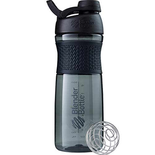 BlenderBottle SportMixer Shaker Bottle Perfect for Protein Shakes and Pre Workout, 28-Ounce, Black