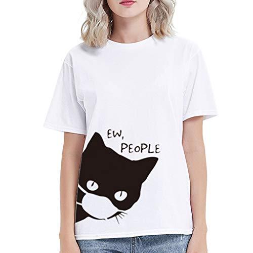 Dasongff T-shirt pour femme - Uni - Col rond - Manches courtes - Unisexe - Motif chat