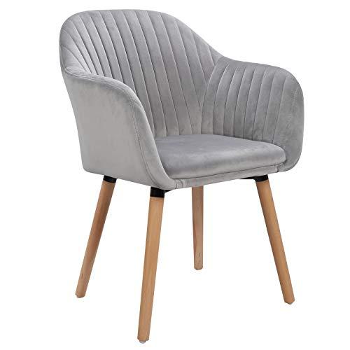 WOLTU 1x Esszimmerstühle Küchenstuhl Polsterstuhl Wohnzimmerstuhl Design Stuhl mit Armlehne Samt Massivholz Hellgrau BH95hgr-1