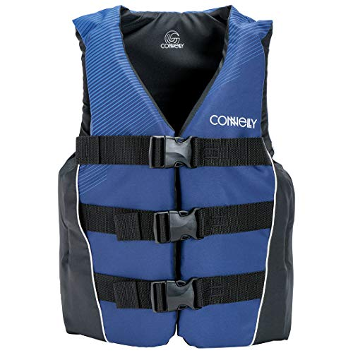 Connelly Coast Guard Approved Nylon Teen Water Sport Lake Boating Swimming Life Jacket PFD Vest, Blue/Black