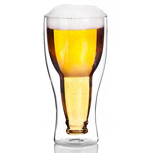 Dimono Doppelwandiges Bierglas Inside Out Umgestülpte Bierflasche im Glas (1 Glas)