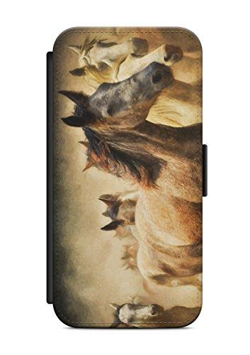 aina Geeignet für iPhone 5 / 5s & für iPhone SE Flipcase Handytasche Hülle mit Magnetverschluss auffklappbar Pferd Motiv Bild