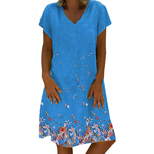 SANFASHION Damen Strandkleid Sommer Kleid Große Groß Kleider Womens Leinenkleid Kurzarm Freizeitkleid Boho Sommerkleid