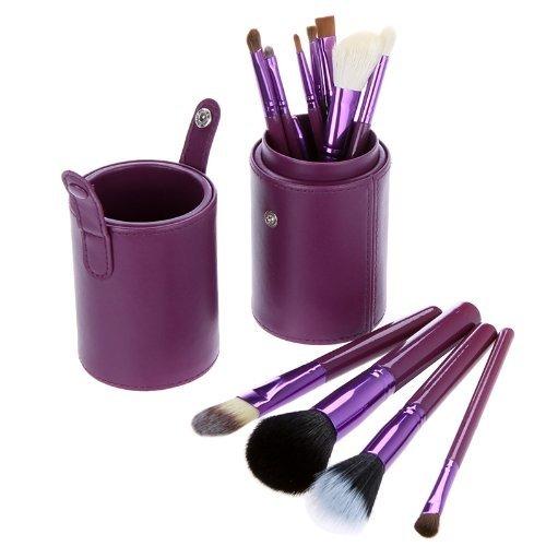 Coupe Cuir Violette Ensemble De 12 Maquillage Pinceaux - Poils De Chèvre/Pony/Synthetic, Virole en Aluminium,Manche En Bois Naturel by DELIAWINTERFEL