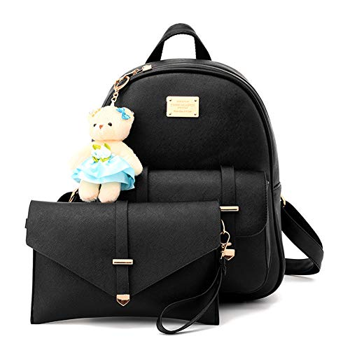 BAG WIZARD Black Small Backpack Cute Bookbag Purse for Teen Girls with Bear Keychain
