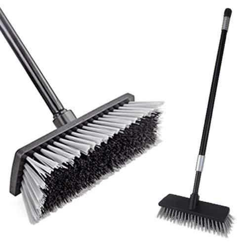 Escobilla de cepillo de piso para exteriores, Escobade empuje, cerdas duras con manija larga ajustable de 49.6 pulgadas, para limpiar...