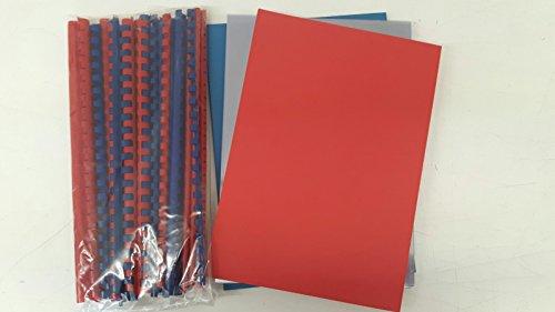 Starter Set para encuadernadora–120Piezas–Lomos, piel de cartón, celofán en azul y rojo (DIN A4)