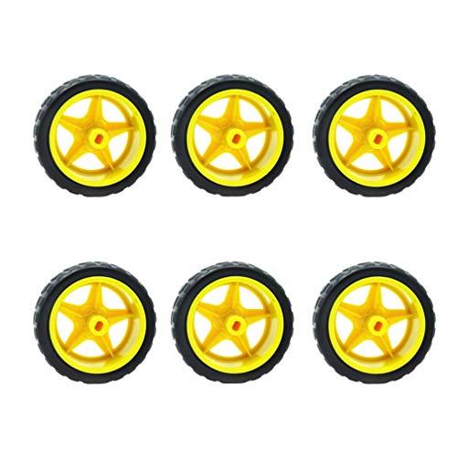 STOBOK 16 piezas de neumático y rueda de coche de juguete 66mm dia 1/10 rc rueda de goma del coche para robots camión barco helicóptero modelo de piezas