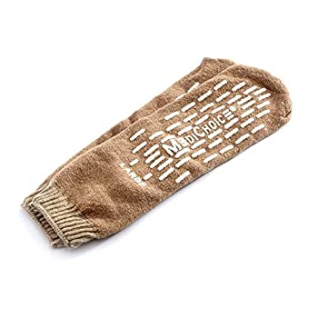 4 Pairs Single Tread Slipper Sock Large Beige- Medichoice Socks Used in Hospitals Nationwide for Fall Management