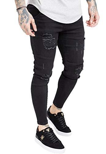 Sik Silk Jeans Herren Distressed Skinny Denims SS-19352 Black, Größe:XS