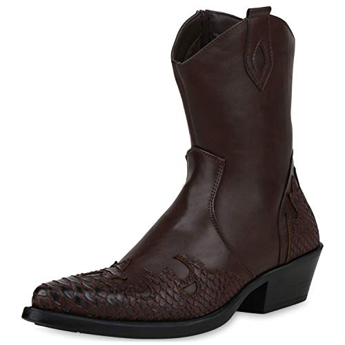 SCARPE VITA Herren Stiefel Cowboy Boots Kroko-Optik Western Schuhe Cowboystiefel Leder-Optik Westernstiefel 191519 Dunkelbraun Kroko 41