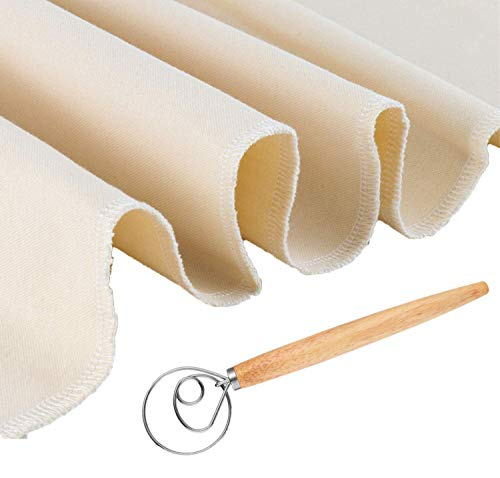 Professional Bakers 26x35 Dough Couche Proofing Cloth, Baking Couche Linen Cloth 100% Pure Cotton Pastry Baguettes Bread Towel for Proofing with a 13 inches Dough Whisk