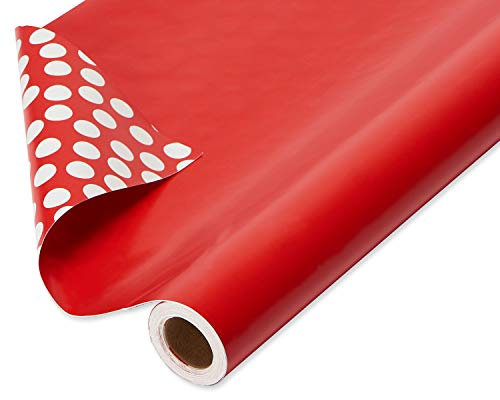 American Greetings Reversible Christmas Wrapping Paper Jumbo Roll, Solid Red and White Polka Dots (1 Pack, 175 sq. ft.)