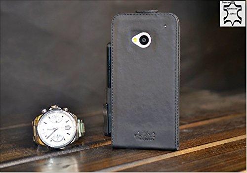 Akira Hand Made [Echt Leder] Handyhülle kompatibel mit HTC One Cover Handgemacht Case Schutzhülle Etui Flip Wallet Pen Schwarz