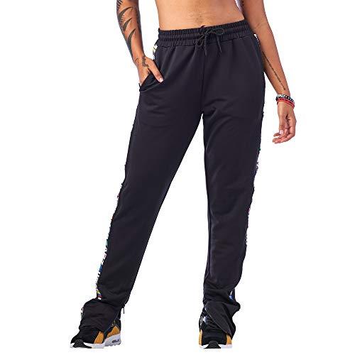 Zumba Fitness Damen Zumba Aktiv Dance Sport Fitness Jogginghose Stilvoll Gym Lockere Hosen, Bold Black 1, Medium