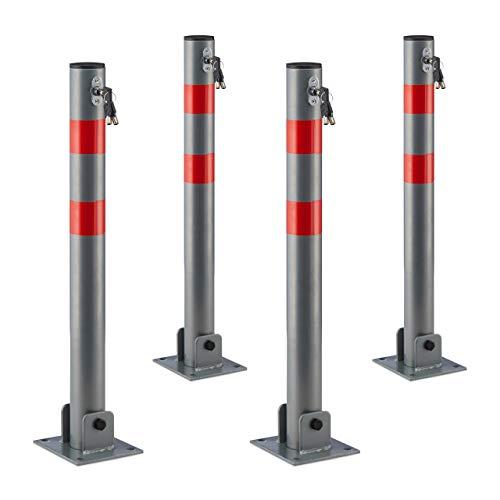 4 x Absperrpfosten rund, Parkplatzsperre klappbar, Parkpfosten mit Warnstreifen, 3 Schlüssel