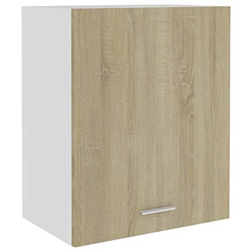 Tidyard Küchenschrank 2 Regalböden Hängeschrank Küche Schrank Einbauküche Küchenzeile Küchenmöbel Oberschrank Spanplatte, Sonoma-Eiche 50 x 31 x 60 cm