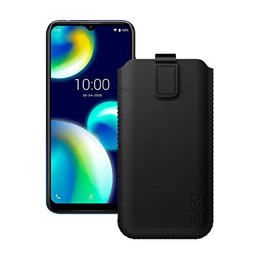 Slabo Schutzhülle für Wiko View4 Lite Schutztasche Handyhülle Hülle mit Magnetverschluss aus PU-Leder - SCHWARZ | Black