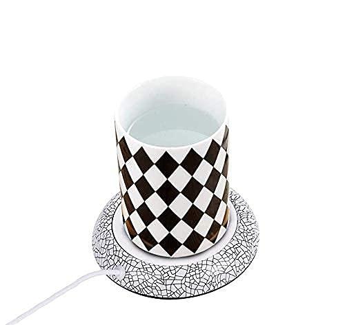 USB Tassenwärmer Getränkewärmer, Coffee Cup Warmer, Elektrisch Kaffeewärmer für Milch, Tee, Wasser - 5 W / 55 ° C Warmhalteplatte(weißes Porzellan)