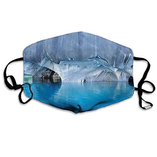 Multifunktionale Gesichtsschutzhülle,Marble Cave General Carrera Lake in Chile Natural Wonders Rocks Azure Water,edruckte Wiederverwendbare Unisex-Gesichtsdekorationen,Persönlicher Schutz