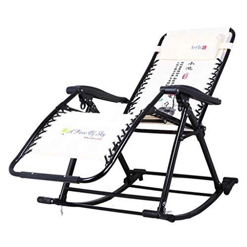 Lehrstuhl Klappstuhl Klappschaukelstuhl mit Kopfstütze im Freien beweglichen Zero Gravity Chair for Camping Angeln Strand Außen 4.13 (Color : Beige, Size : 50 * 86 * 45cm)