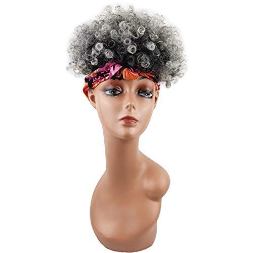 Pelucas para Mujer, Pelucas para Envolver la Cabeza Pelucas de Pelo sinttico 2 en 1 Pelucas con Diadema Bufanda de pia con Soplo Alto Pelucas Afro rizadas y rizadas Pelucas Cortas Resistentes al c