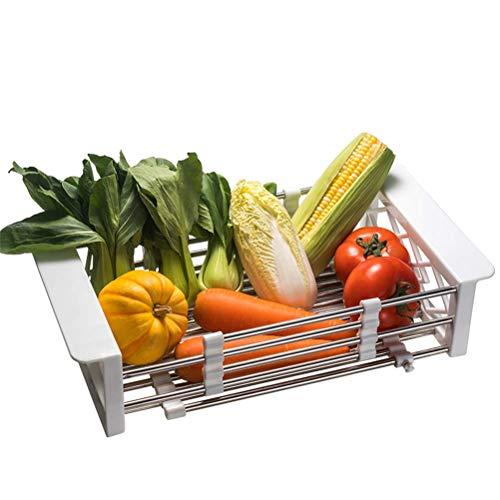 WYJBD Pasta de Drenaje de Fregadero de Cocina, Acero Inoxidable Piscina retráctil Canasta de desagüe Plato Lavado Fruta y Cesta de Verduras