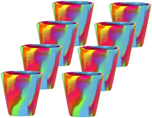 IVES 6oz Silicone Pint Glass Unbreakable Silicone Rainbow Cup Drinkware 8 Pack product image