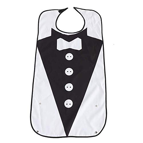 Volwassen slabbetjes met Crumb Catcher, herbruikbare kledingbeschermer, wasbaar waterdicht eten slabbetjes voor de Ouderen Senior Mannen en Vrouwen, Tie Patroon 4 Buttons