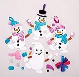 Baker Ross Kits de décorations Bonhomme de Neige à Assortir (Paquet de 6) - Loisirs créatifs de Noël pour Enfants