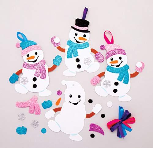 Baker Ross AT160 Weihnachtskugeln Mix & Match Schneemann (6 Stück) Christbaumschmuck Bastelset für Kinder, Sortiert