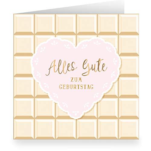 Suikerzoete verjaardagskaart in chocolade-look met hart binnen wit (vierkant, 15,5 x 15,5 cm incl. envelopp): Alles goed voor een verjaardag grote XL groetkaart voor familie, vrienden, medewerkers 12 Grußkarten