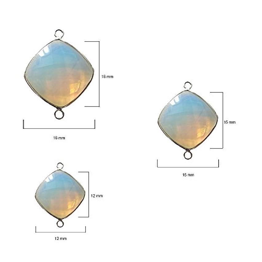 4 Pcs Opalite Cushion Beads 12mm Silver by BESTINBEADS, Opalite Hydro Quartz Cushion Pendant Bezel Gemstone Connectors Over 925 Sterling Silver Bezel Jewelry Making Supplies