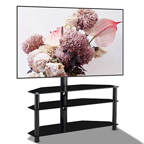 3 Tier Glass Floor TV Stand with Swivel Mount, Height Adjustable for 32 37 42 47 50 55 60 65 inch Plasma Flat or Curved Screen Television for Living Room Universal Media Storage Corner TV Stand