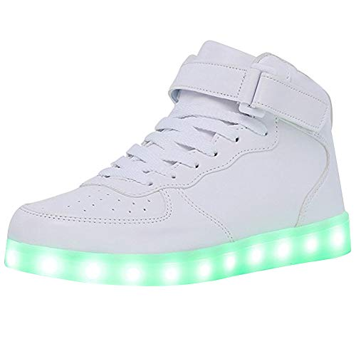 WONZOM High Top LED Light Up Shoes USB Charging Sneakers for Men Women-40(White)