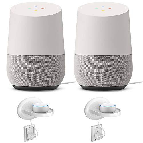 Google Home Smart Speaker w Assistant White/Slate 2 Pack + 2X Wall Mount