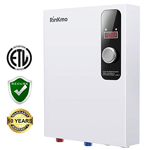 Rinkmo Electric Tankless Water Heater 18KW 240V Instant Hot On Demand Residential Electric Water Heater for Bathroom Bathtub rv Whole House Shower Sink Small