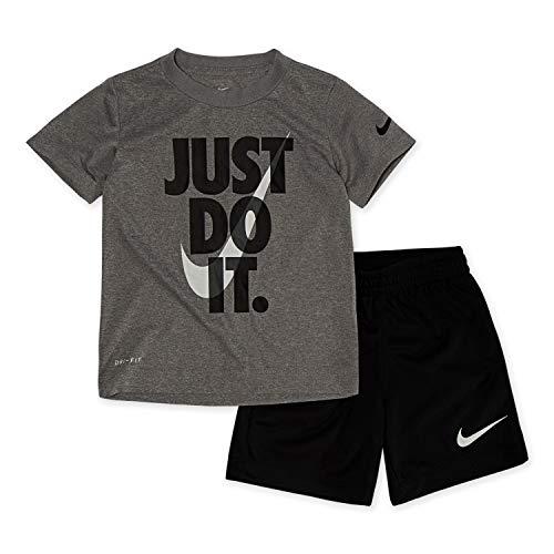 Nike Boy`s Dri-Fit T-Shirt & Shorts 2 Piece Set (Black(66F024-023)/Grey, 7)