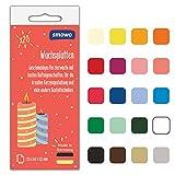 Smowo® 20 Wachsplatten zum gestalten, dekorieren und verzieren von Kerzen - Verzierwachs zum Basteln - Kerzenplatten Wachs Platten