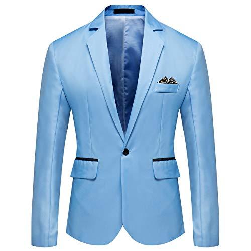 Blazer Homme Un Bouton à Couleur Unie Slim Fit Décoré Foulard à Bon Marché Veste de Business Elégant