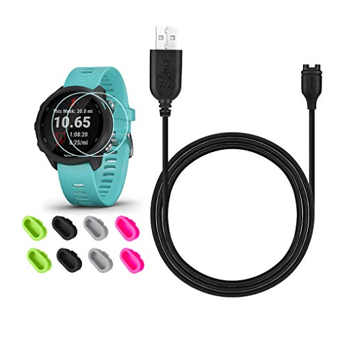 JIUJOJA for Garmin Forerunner 245/Approach S60 Charger, Charging Clip Sync Data Cable and 2Pcs HD Tempered Glass Screen Protector and 8Pcs Charger Port Protector for Forerunner 245 Music Smart Watch