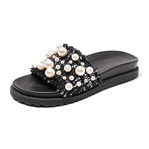 NJZYB Pantuflas planas para mujer de verano, con perlas y exteriores, informales, color negro, talla 39