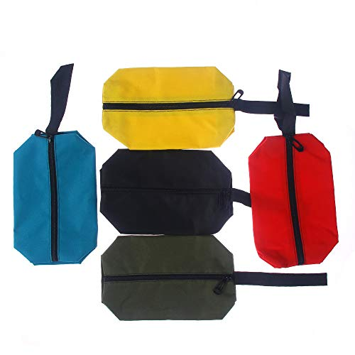 NUOMI Small Canvas Tool Bags Zipper 5 Pack Portable Pouches Storage Organizer with Hanging Loop for Woodworker, Ironworkers, Gardening, and Everyday Handyman