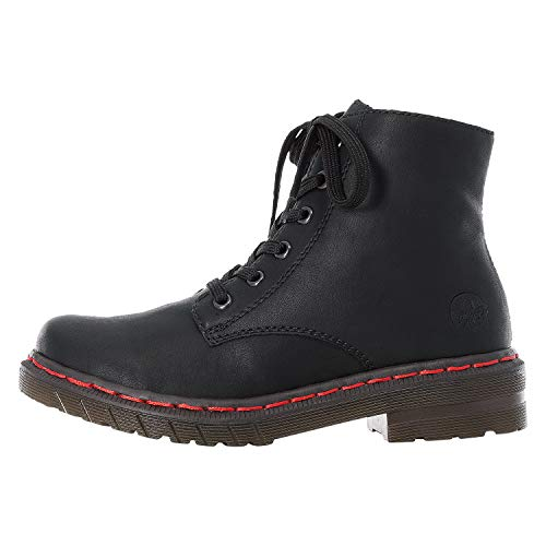 Rieker Damen Stiefel, Frauen Schnürstiefel, Combat Boots schnürung,Schwarz,40 EU / 6.5 UK