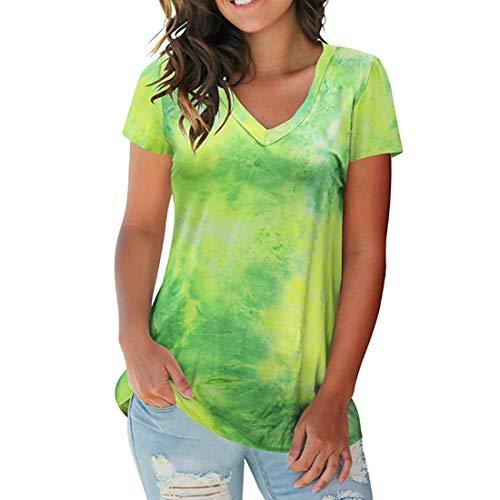 Camiseta de Mujer Verano con Cuello en V Camisas de Manga Corta Tops Camiseta Cruzada Tops Camiseta de Verano de Mujer, Primavera y Verano Street Hipster Batik Camiseta con Cuello en V para Mujer