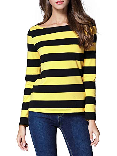 HUHOT Women's Long Sleeve Boat Neck Striped Relax Fit Christmas Tee Shirts Yellow and Black Small HS6447-9