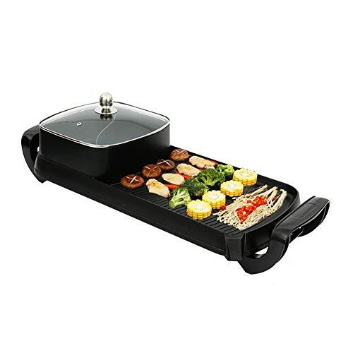 Shabu électrique Hot Pot avec BBQ, Barbecue électrique Super grande pierre médicale Ménage Moule à pâtisserie électrique Poêle électrique, Convient pour 3-10 personnes rassemblement de famille,B