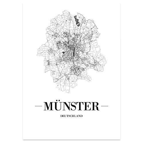 JUNIWORDS Stadtposter, Münster, Wähle eine Größe, 40 x 60 cm, Poster, Schrift A, Weiß